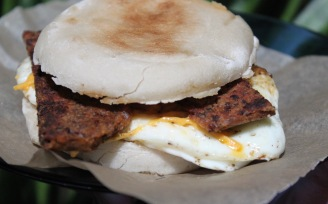 Bacon, Egg & Daiya Breakfast Sandwich