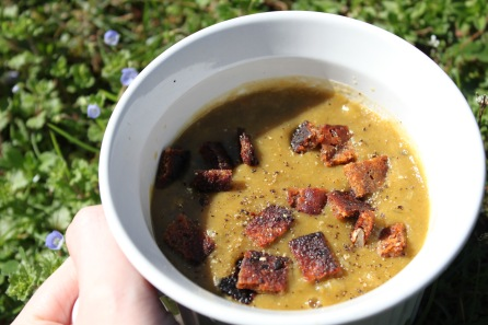 Homemade Split Pea Soup with Vegan Bacon