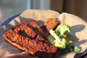 plate of vegan bacon