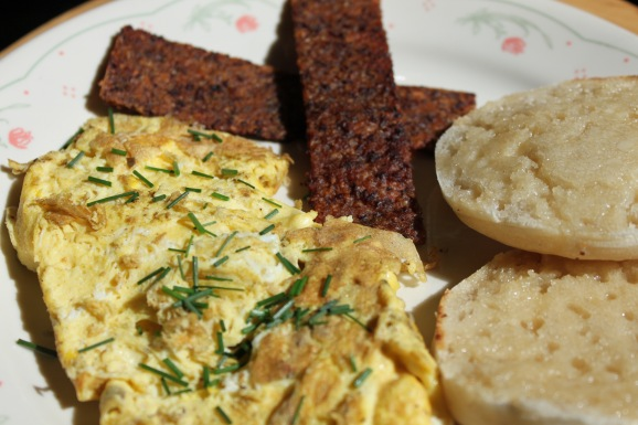 Scrambled Eggs w_ wild chives breakfast