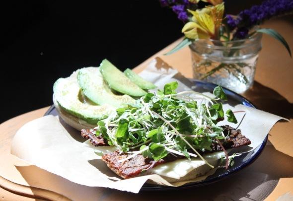 Vegan Bacon, Avocado, Microgreen Sandwich w_ Follow Yr Heart Cheese
